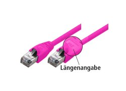 Patchkabel S-STP (PIMF), Cat 6, magenta, 10,0 m