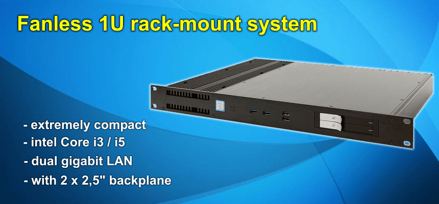 Fanless 1U rack-mount system